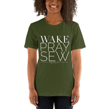 Load image into Gallery viewer, Wake Pray Sew Repeat Short-Sleeve Unisex T-Shirt