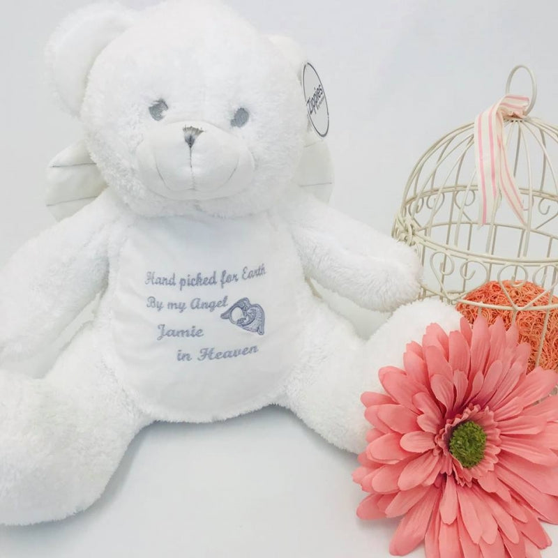 Angel teddy - Hand picked for earth (baby remembrance)