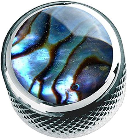 Shell Dome Knob Single Chrome Natural Abalone