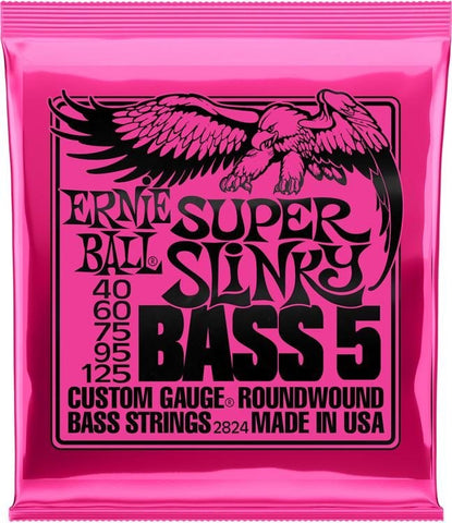 Ernie Ball 2824 Super Slinky Nickel Wound Electric Bass Strings - .040-.125 5-string
