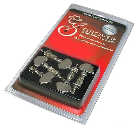 Grover Perma-Tension 5-string tuner set, Nickel with metal buttons.