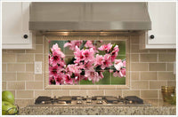 Pink Flowers on Tree Branch -  Tile Mural