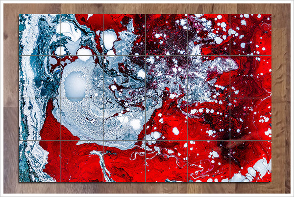 Abstract Red White Blue -  Tile Mural