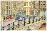 Amsterdam Watercolor Painting -  Tile Mural