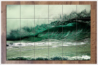 Aqua Barrel Wave -  Tile Mural