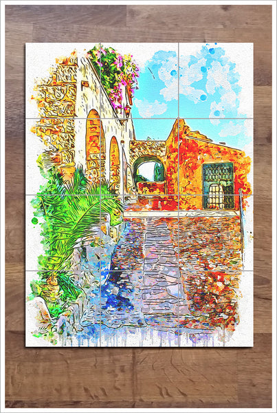 Architecture Watercolor Painting 02 -  Tile Mural