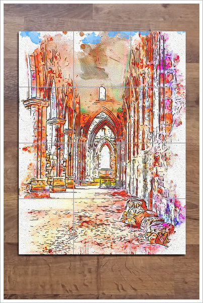 Architecture Watercolor Painting 03 -  Tile Mural
