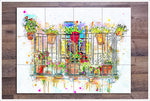 Balcony Watercolor Painting -  Tile Mural