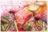 Red Bicycle Watercolor Painting -  Tile Mural