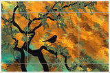 Abstract Bird in Tree -  Tile Mural