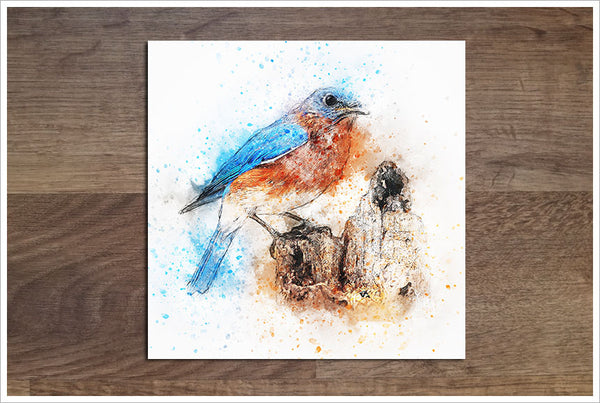 Blue Bird Watercolor - Ceramic Accent Tile