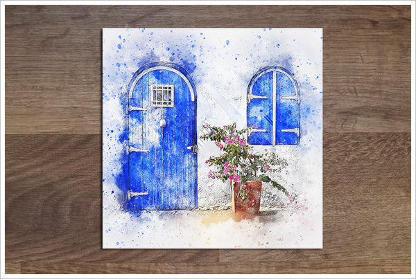 Blue Door Watercolor - Ceramic Accent Tile