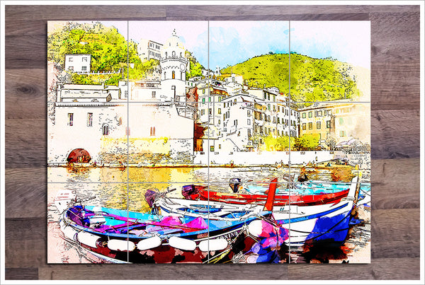 Boats Watercolor Painting v2 -  Tile Mural