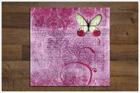 Pink Butterfly Collage -  Tile Mural