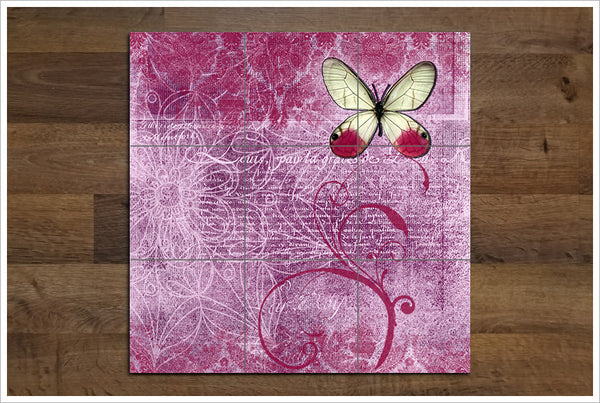 Pink Butterfly Collage - Ceramic Tile Mural