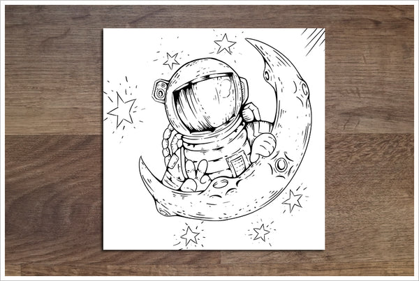 Astronaut & Moon Cartoon -  Accent Tile