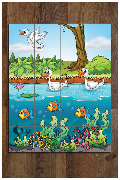 Cartoon Duck Pond -  Tile Mural