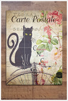 Cat Postcard Collage -  Tile Mural