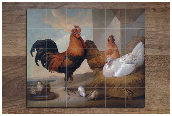 Farm Chickens Painting -  Tile Mural
