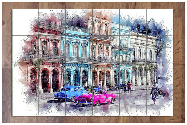 Cuba Watercolor Painting -  Tile Mural