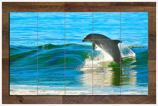 Dolphin Surfing -  Tile Mural