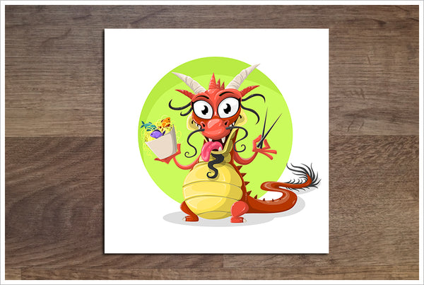 Dragon Eating Cartoon -  Accent Tile