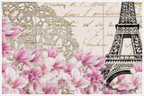 Eiffel Tower & Roses Collage -  Tile Mural
