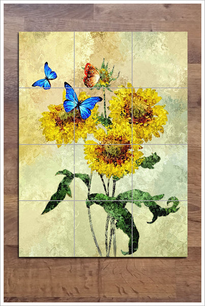 Flowers & Butterflies Painting -  Tile Mural