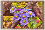 Purple Flowers on Fence -  Tile Mural