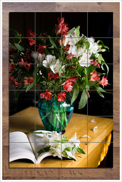 Vase of Flowers with Book - Ceramic Tile Mural