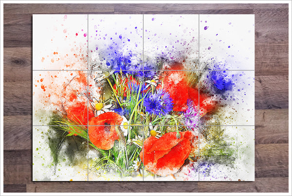 Flowers Watercolor Painting v1 -  Tile Mural