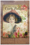 French Woman Postcard Collage -  Tile Mural