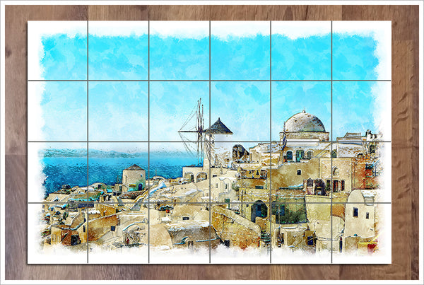 Greece Landscape Painting -  Tile Mural