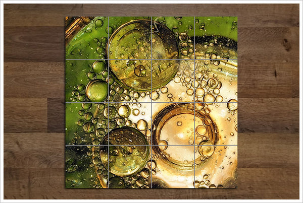 Green Bubbles Abstract - Ceramic Tile Mural
