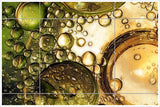 Green Bubbles Abstract -  Tile Mural