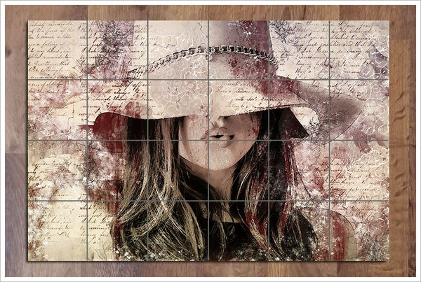 Girl With Hat Collage -  Tile Mural