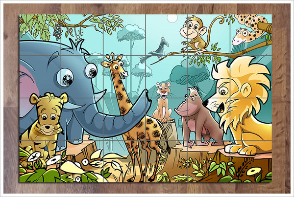 Cartoon Jungle -  Tile Mural
