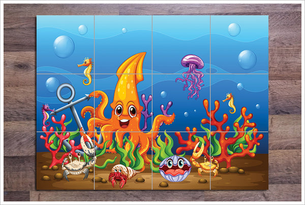 Cartoon Underwater Octopus Sea Life -  Tile Mural