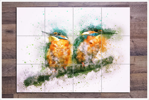 Kingfisher Pair Watercolor Painting -  Tile Mural