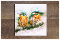 Kingfisher Pair Watercolor -  Accent Tile