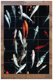 Koi Fish in Dark Water -  Tile Mural