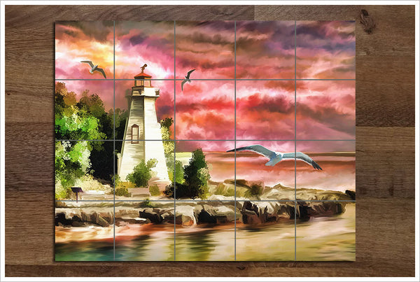 Lighthouse Painting -  Tile Mural