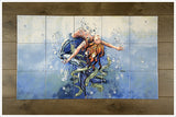 "Mermaid Floating 18 x 30"" -  Tile Mural"