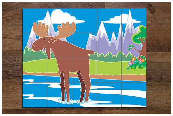Fun Moose Print -  Tile Mural