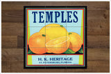 Temples Orange Crate Label -  Tile Mural