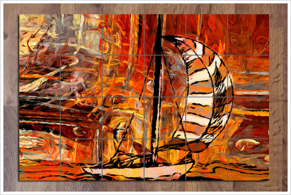 Orange Sailboat Painting -  Tile Mural