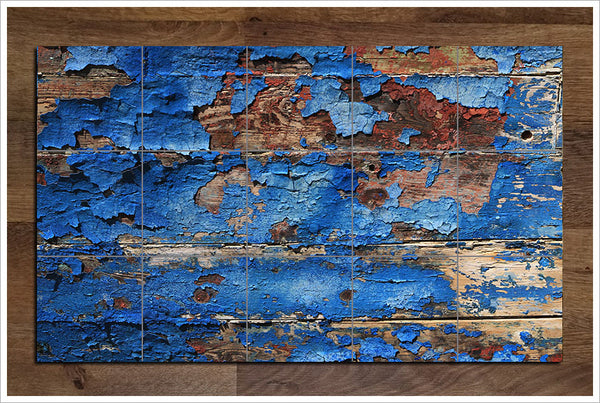 Blue Paint Peeling -  Tile Mural