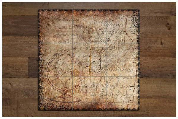 Globe on Parchment Paper -  Tile Mural