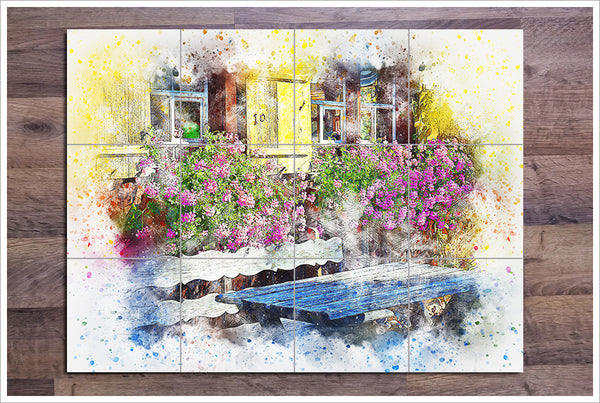 Patio Flowers Watercolor Painting -  Tile Mural