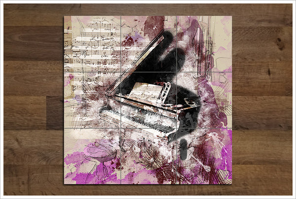 Piano Collage -  Tile Mural